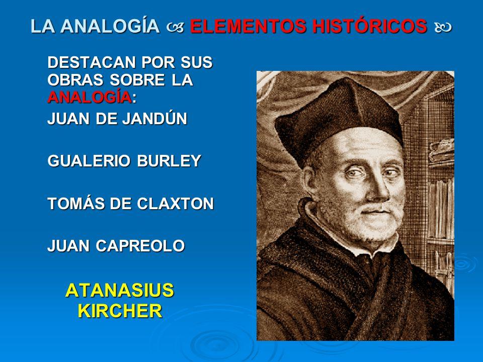 LA ANALOGÍA ELEMENTOS HISTÓRICOS LA ANALOGÍA ELEMENTOS HISTÓRICOS DESTACAN POR SUS OBRAS SOBRE LA ANALOGÍA: JUAN DE JANDÚN GUALERIO BURLEY TOMÁS DE CL