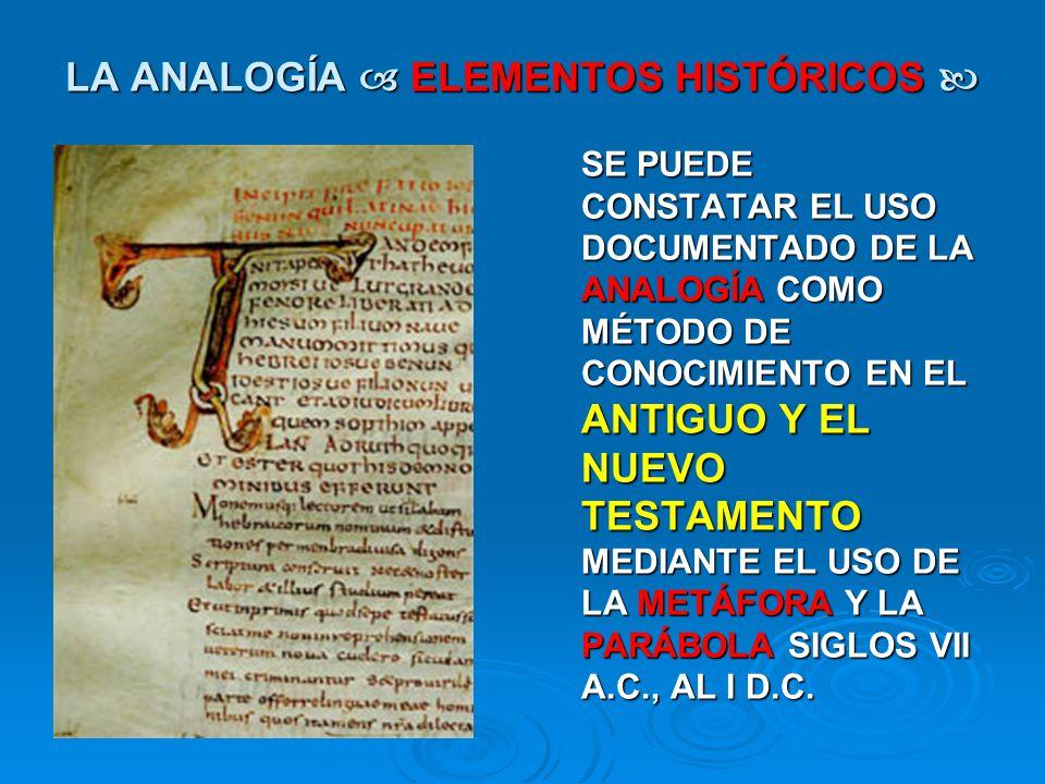 LA ANALOGÍA ELEMENTOS HISTÓRICOS LA ANALOGÍA ELEMENTOS HISTÓRICOS SE PUEDE CONSTATAR EL USO DOCUMENTADO DE LA ANALOGÍA COMO MÉTODO DE CONOCIMIENTO EN