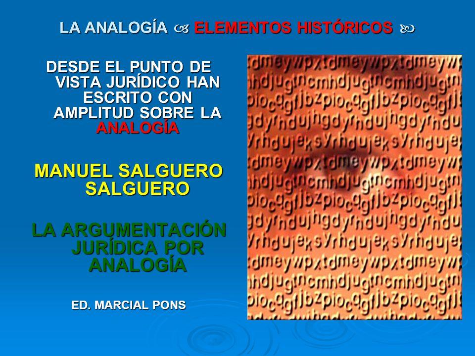 LA ANALOGÍA ELEMENTOS HISTÓRICOS LA ANALOGÍA ELEMENTOS HISTÓRICOS DESDE EL PUNTO DE VISTA JURÍDICO HAN ESCRITO CON AMPLITUD SOBRE LA ANALOGÍA MANUEL S