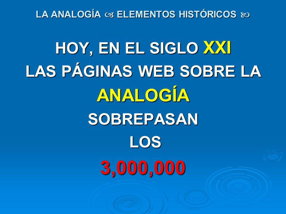LA ANALOGÍA ELEMENTOS HISTÓRICOS LA ANALOGÍA ELEMENTOS HISTÓRICOS HOY, EN EL SIGLO XXI LAS PÁGINAS WEB SOBRE LA ANALOGÍASOBREPASAN LOS LOS3,000,000