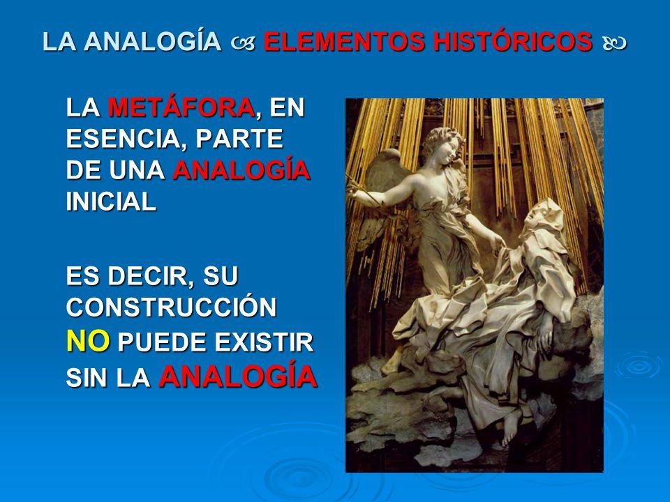 LA ANALOGÍA ELEMENTOS HISTÓRICOS LA ANALOGÍA ELEMENTOS HISTÓRICOS LA METÁFORA, EN ESENCIA, PARTE DE UNA ANALOGÍA INICIAL ES DECIR, SU CONSTRUCCIÓN NO