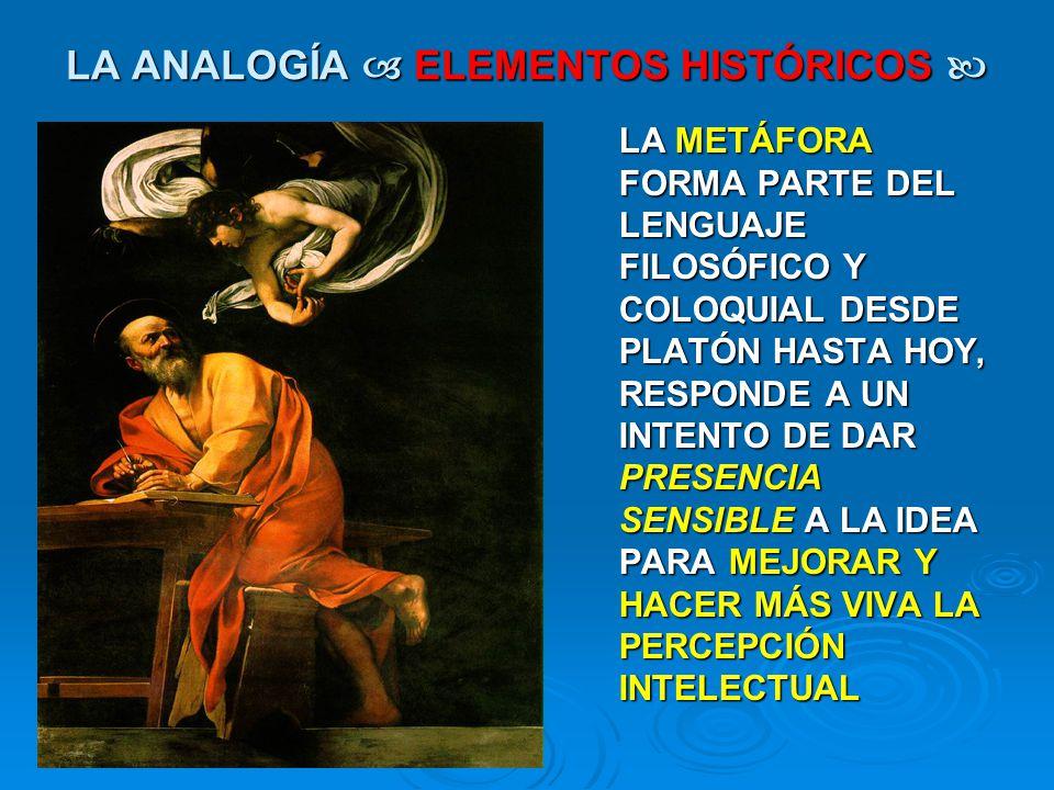 LA ANALOGÍA ELEMENTOS HISTÓRICOS LA ANALOGÍA ELEMENTOS HISTÓRICOS LA METÁFORA FORMA PARTE DEL LENGUAJE FILOSÓFICO Y COLOQUIAL DESDE PLATÓN HASTA HOY,
