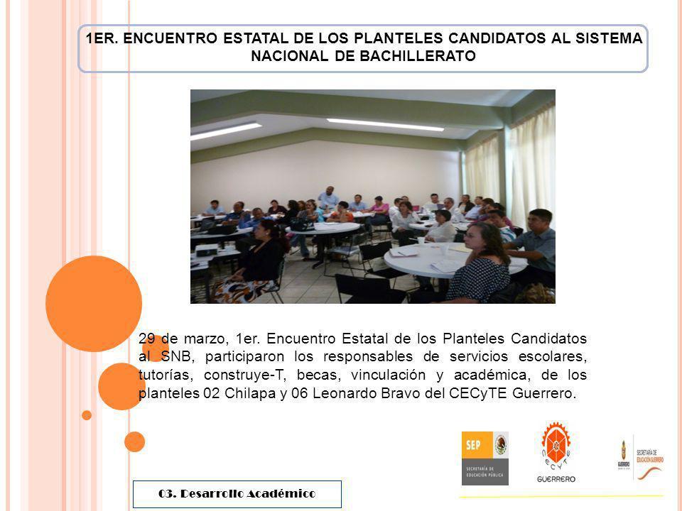 1ER. ENCUENTRO ESTATAL DE LOS PLANTELES CANDIDATOS AL SISTEMA NACIONAL DE BACHILLERATO 29 de marzo, 1er. Encuentro Estatal de los Planteles Candidatos