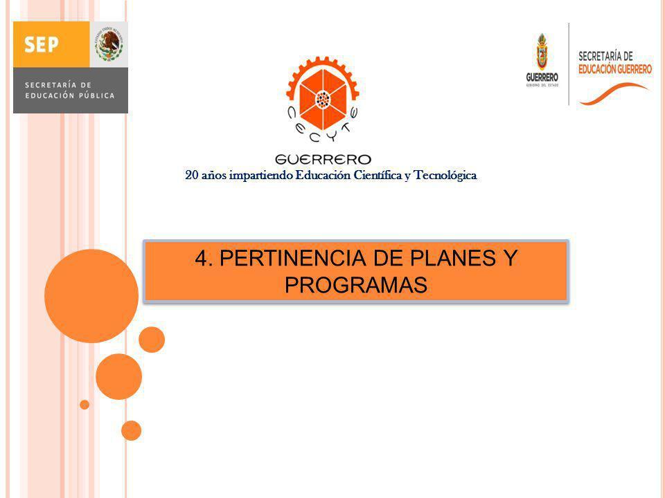 4. PERTINENCIA DE PLANES Y PROGRAMAS 20 años impartiendo Educación Científica y Tecnológica