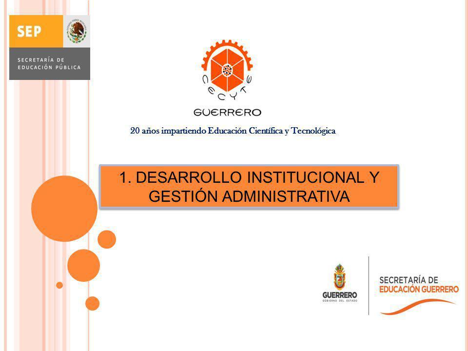 1. DESARROLLO INSTITUCIONAL Y GESTIÓN ADMINISTRATIVA 20 años impartiendo Educación Científica y Tecnológica