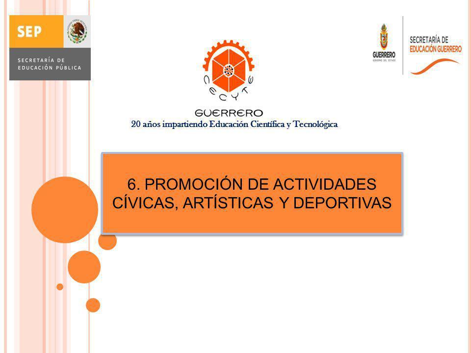 6. PROMOCIÓN DE ACTIVIDADES CÍVICAS, ARTÍSTICAS Y DEPORTIVAS 20 años impartiendo Educación Científica y Tecnológica