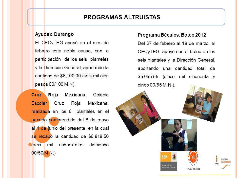 PROGRAMAS ALTRUISTAS Ayuda a Durango El CECyTEG apoyó en el mes de febrero esta noble causa, con la participación de los seis planteles y la Dirección