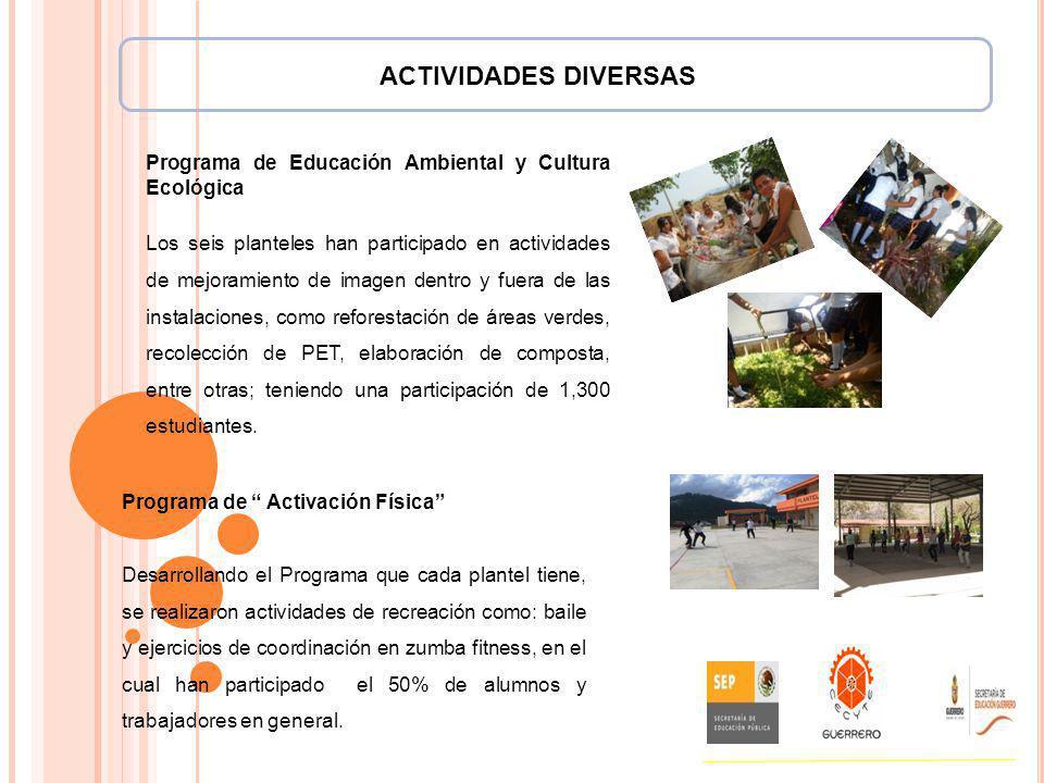 ACTIVIDADES DIVERSAS Programa de Educación Ambiental y Cultura Ecológica Los seis planteles han participado en actividades de mejoramiento de imagen d