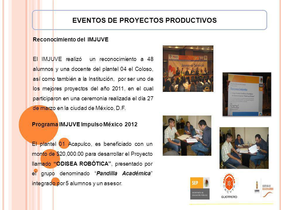Reconocimiento del IMJUVE El IMJUVE realizó un reconocimiento a 48 alumnos y una docente del plantel 04 el Coloso, así como también a la Institución,