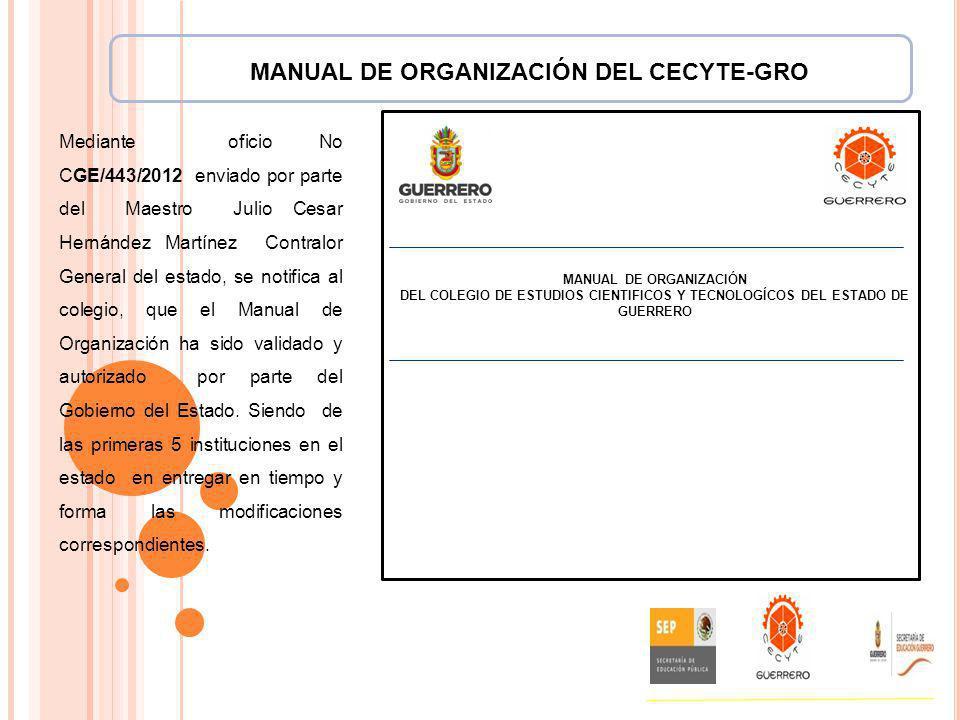 MANUAL DE ORGANIZACIÓN DEL CECYTE-GRO MANUAL DE ORGANIZACIÓN DEL COLEGIO DE ESTUDIOS CIENTIFICOS Y TECNOLOGÍCOS DEL ESTADO DE GUERRERO Mediante oficio