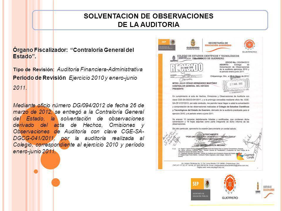 SOLVENTACION DE OBSERVACIONES DE LA AUDITORIA Órgano Fiscalizador: Contraloría General del Estado. Tipo de Revisión: Auditoria Financiera-Administrati