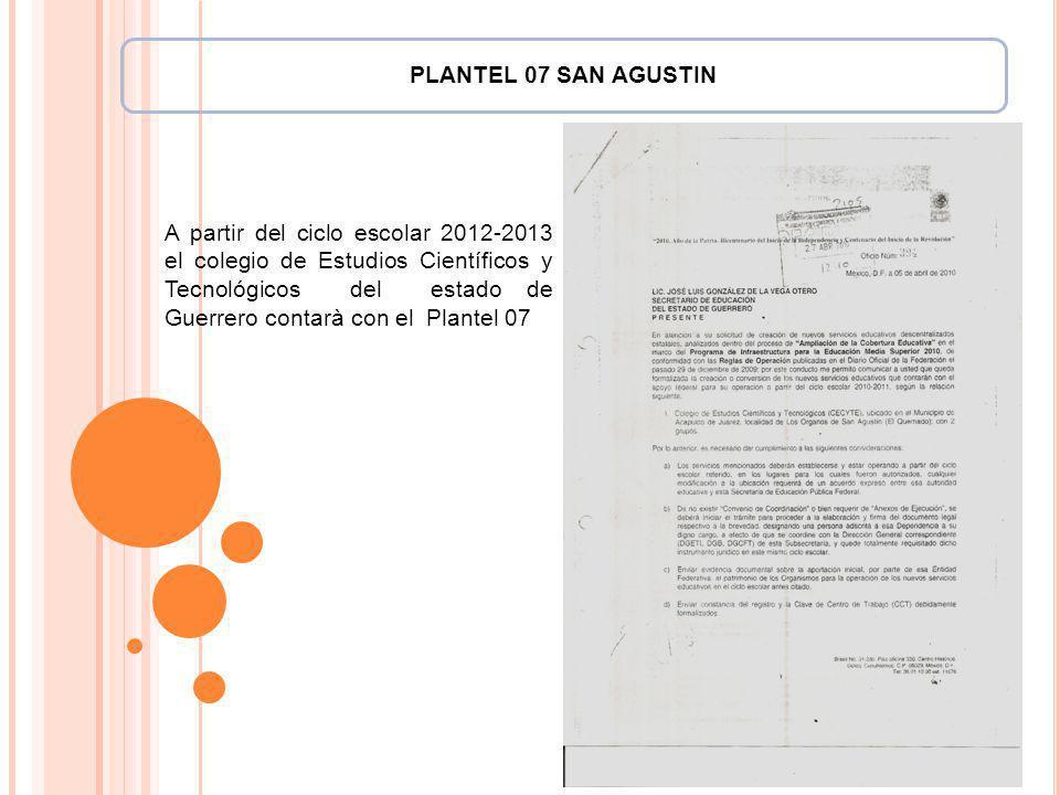 Texto:. A partir del ciclo escolar 2012-2013 el colegio de Estudios Científicos y Tecnológicos del estado de Guerrero contarà con el Plantel 07 PLANTE