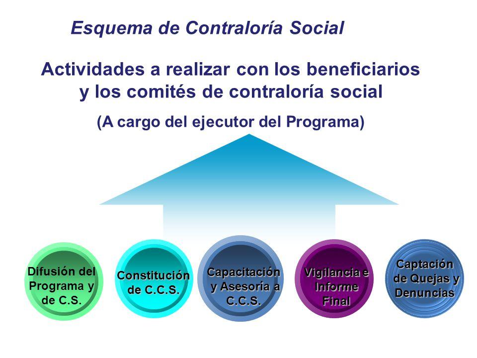 Esquema de Contraloría Social Constitución de C.C.S. Difusión del Programa y de C.S. Capacitación y Asesoría a C.C.S. y Asesoría a C.C.S. Vigilancia e