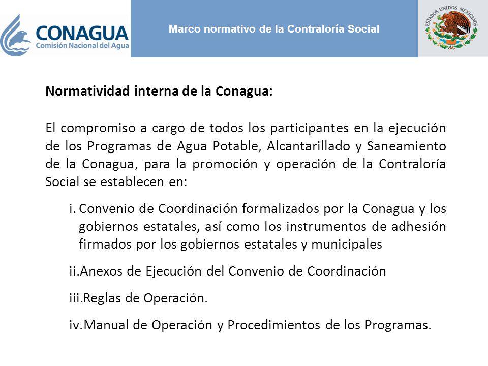 Marco normativo de la Contraloría Social Normatividad interna de la Conagua: El compromiso a cargo de todos los participantes en la ejecución de los P