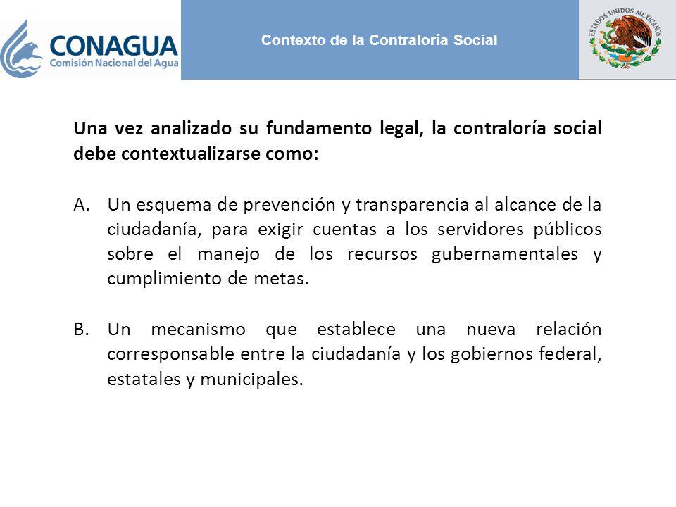 Contexto de la Contraloría Social Una vez analizado su fundamento legal, la contraloría social debe contextualizarse como: A.Un esquema de prevención