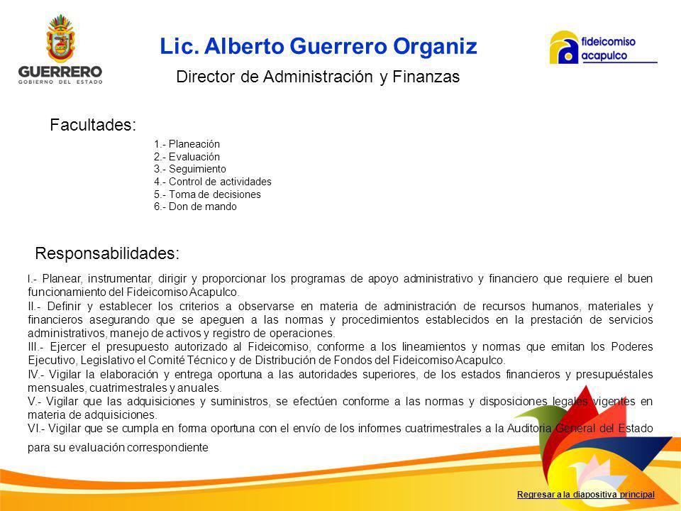Facultades: Responsabilidades: Regresar a la diapositiva principal I.- Custodiar y manejar los documentos de cobro generados por las operaciones del Fideicomiso.