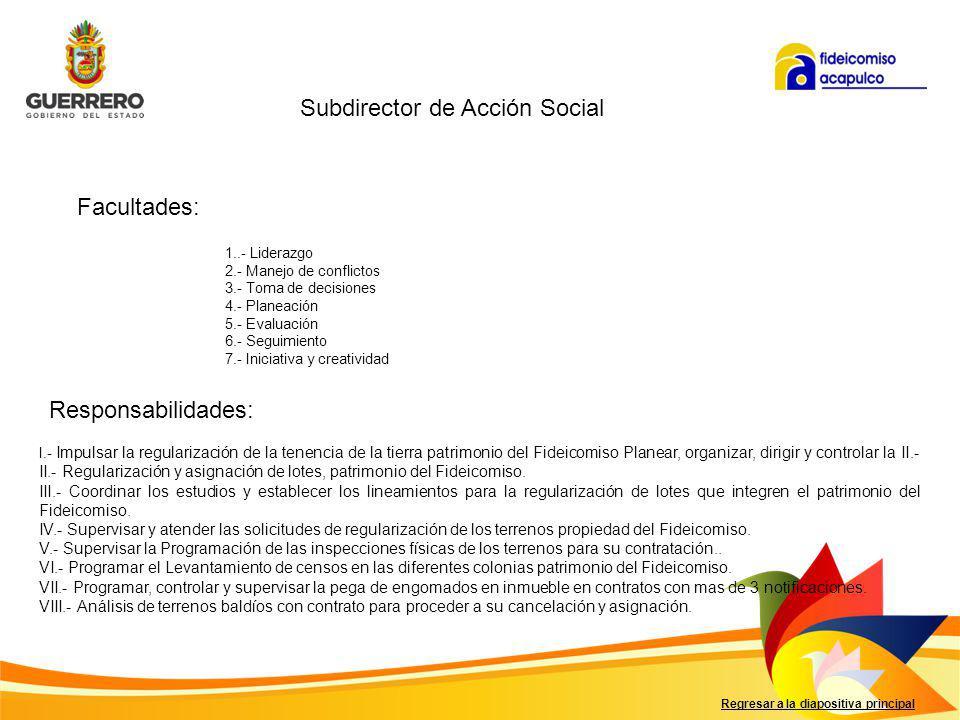 Facultades: Responsabilidades: Regresar a la diapositiva principal I.- Proporcionar costos y formas de pago para la comercialización de los lotes patrimonio del Fideicomiso Acapulco.