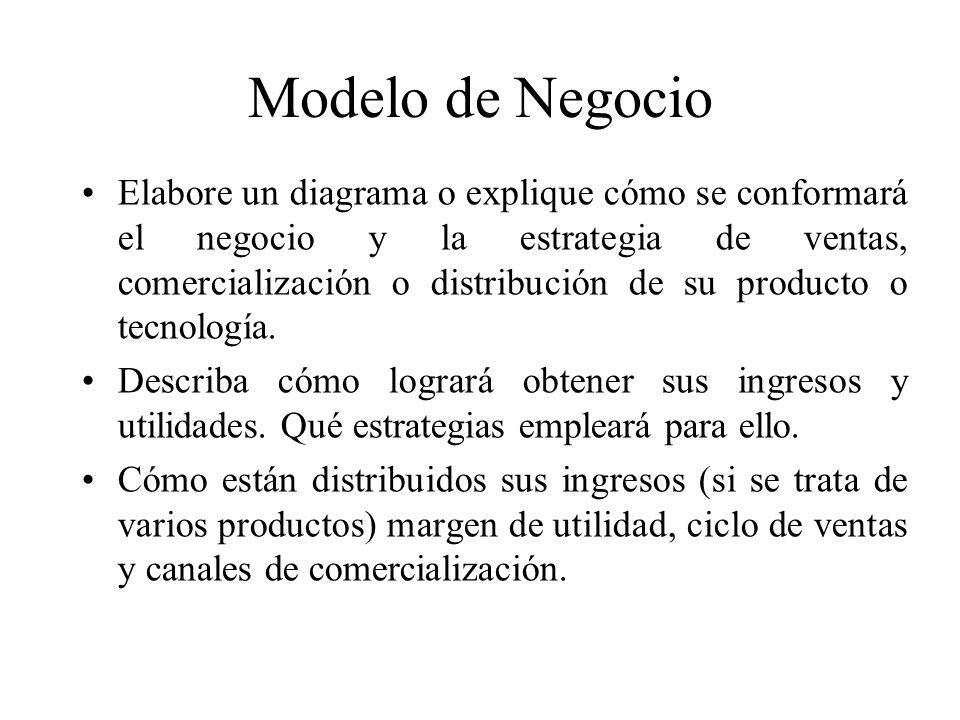 Modelo de Negocio Elabore un diagrama o explique cómo se conformará el negocio y la estrategia de ventas, comercialización o distribución de su produc