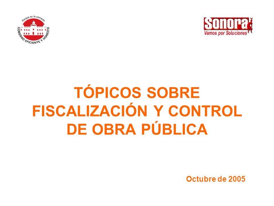 TÓPICOS SOBRE FISCALIZACIÓN Y CONTROL DE OBRA PÚBLICA Octubre de 2005