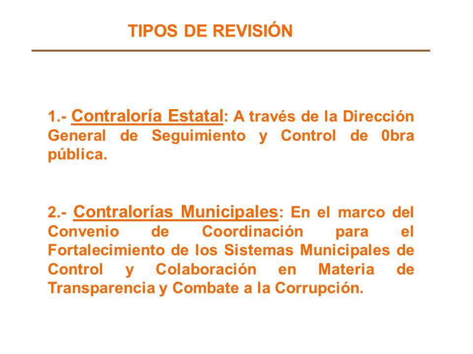 1.- Contraloría Estatal : A través de la Dirección General de Seguimiento y Control de 0bra pública.