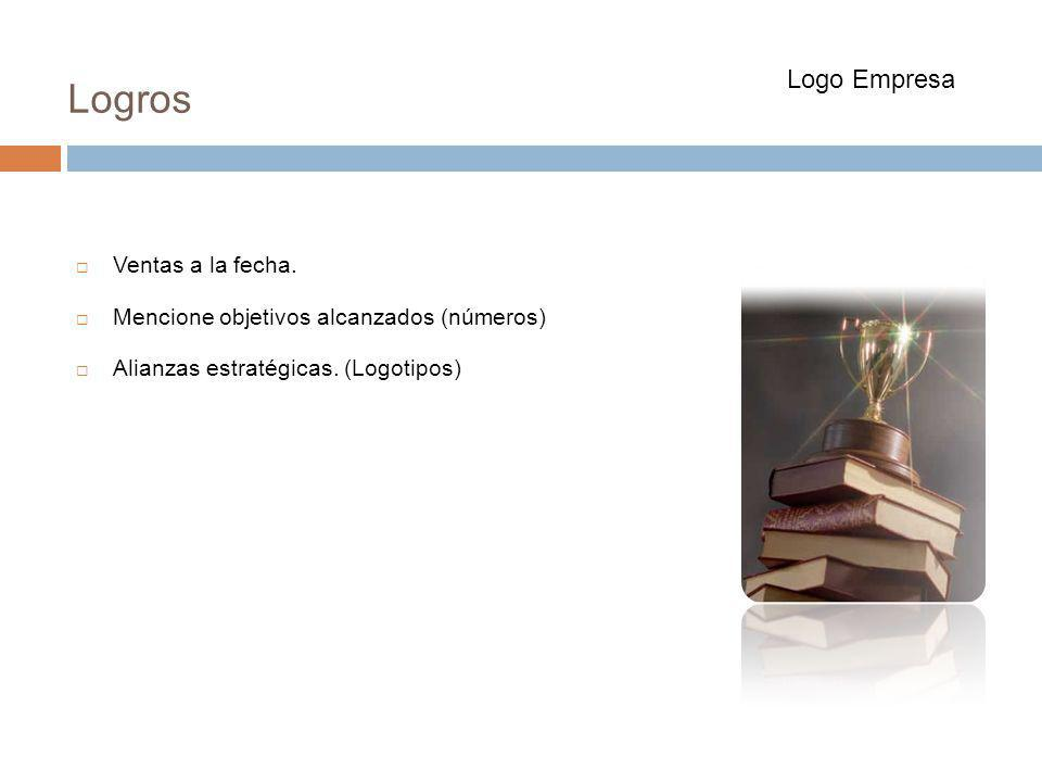 Ventas a la fecha. Mencione objetivos alcanzados (números) Alianzas estratégicas. (Logotipos) Logros Logo Empresa