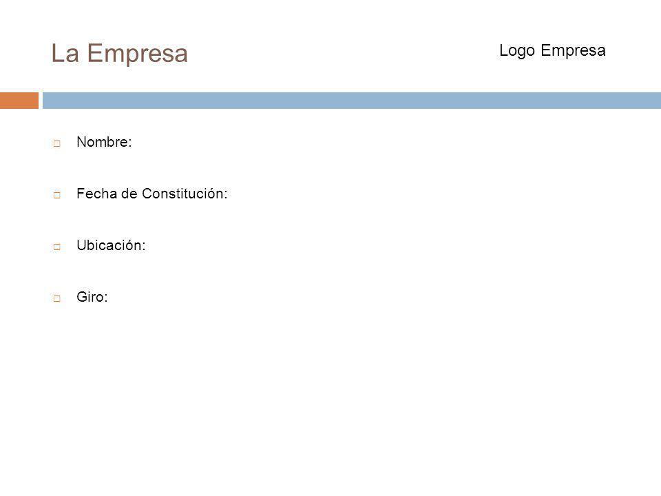 La Empresa Nombre: Fecha de Constitución: Ubicación: Giro: Logo Empresa