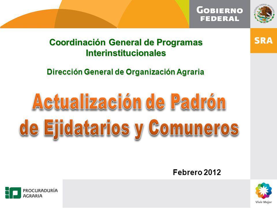 Coordinación General de Programas Interinstitucionales Dirección General de Organización Agraria Febrero 2012