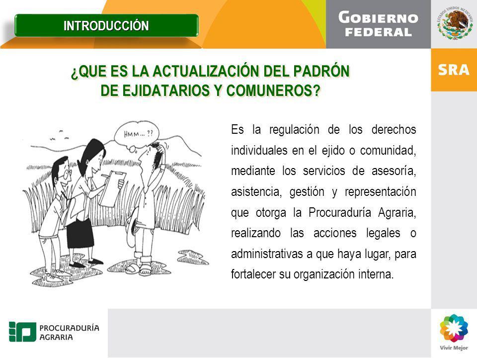 ¿QUE ES LA ACTUALIZACIÓN DEL PADRÓN DE EJIDATARIOS Y COMUNEROS? Es la regulación de los derechos individuales en el ejido o comunidad, mediante los se