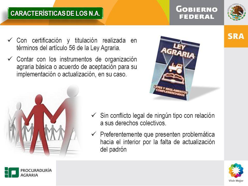 Con certificación y titulación realizada en términos del artículo 56 de la Ley Agraria. Contar con los instrumentos de organización agraria básica o a