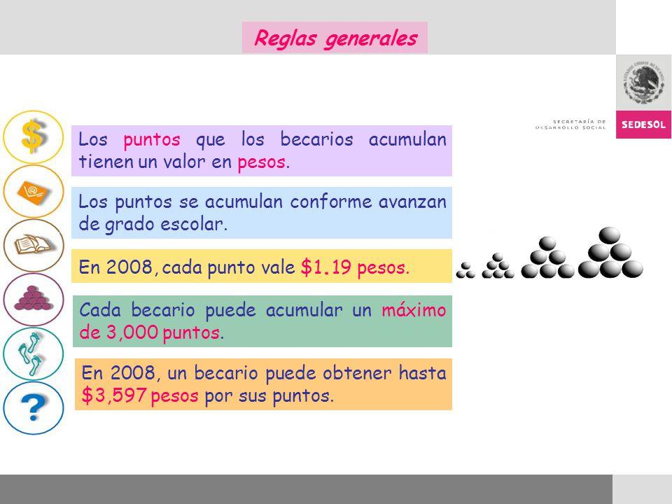 Los puntos que los becarios acumulan tienen un valor en pesos. Los puntos se acumulan conforme avanzan de grado escolar. Cada becario puede acumular u