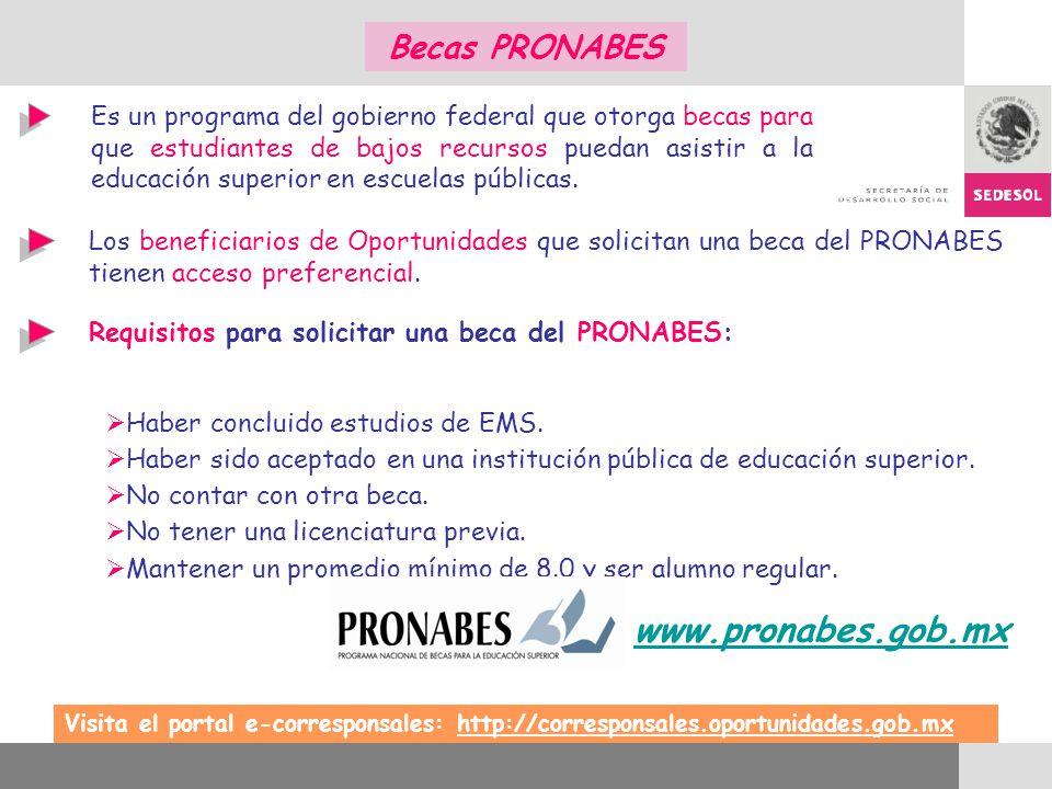 Requisitos para solicitar una beca del PRONABES: Haber concluido estudios de EMS. Haber sido aceptado en una institución pública de educación superior