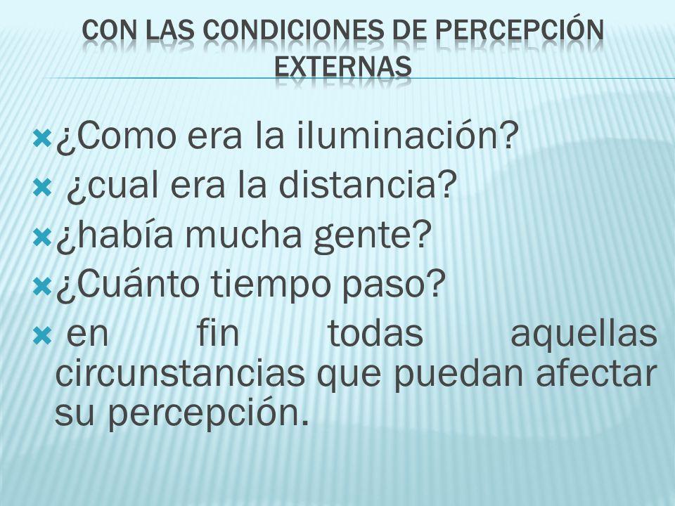 ¿Como era la iluminación? ¿cual era la distancia? ¿había mucha gente? ¿Cuánto tiempo paso? en fin todas aquellas circunstancias que puedan afectar su