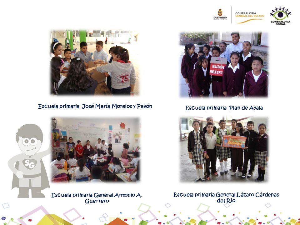 Escuela primaria José María Morelos y Pavón Escuela primaria Plan de Ayala Escuela primaria General Antonio A. Guerrero Escuela primaria General Lázar