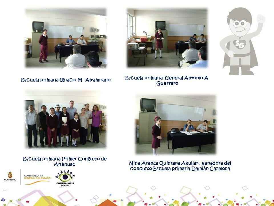 Escuela primaria General Antonio A. Guerrero Escuela primaria Ignacio M. Altamirano Escuela primaria Primer Congreso de Anáhuac Niña Aranza Quintana A