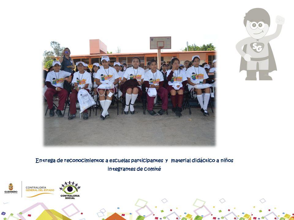Entrega de reconocimientos a escuelas participantes y material didáctico a niños integrantes de comité