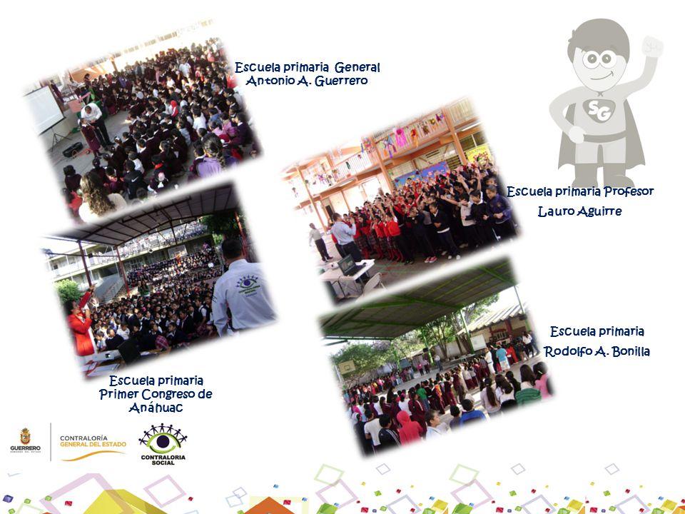 Escuela primaria General Antonio A. Guerrero Escuela primaria Primer Congreso de Anáhuac Escuela primaria Profesor Lauro Aguirre Escuela primaria Rodo