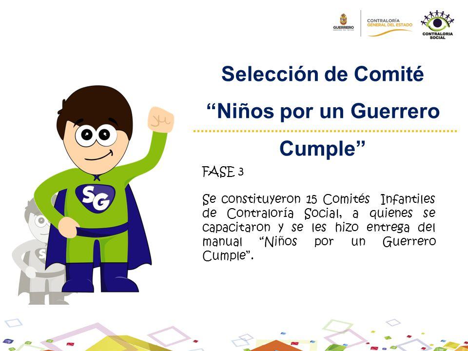 Selección de Comité Niños por un Guerrero Cumple FASE 3 Se constituyeron 15 Comités Infantiles de Contraloría Social, a quienes se capacitaron y se le
