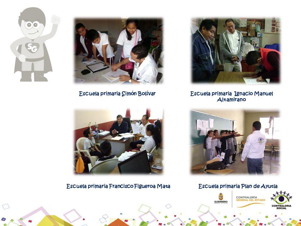 Escuela primaria Ignacio Manuel Altamirano Escuela primaria Simón Bolívar Escuela primaria Plan de Ayutla Escuela primaria Francisco Figueroa Mata