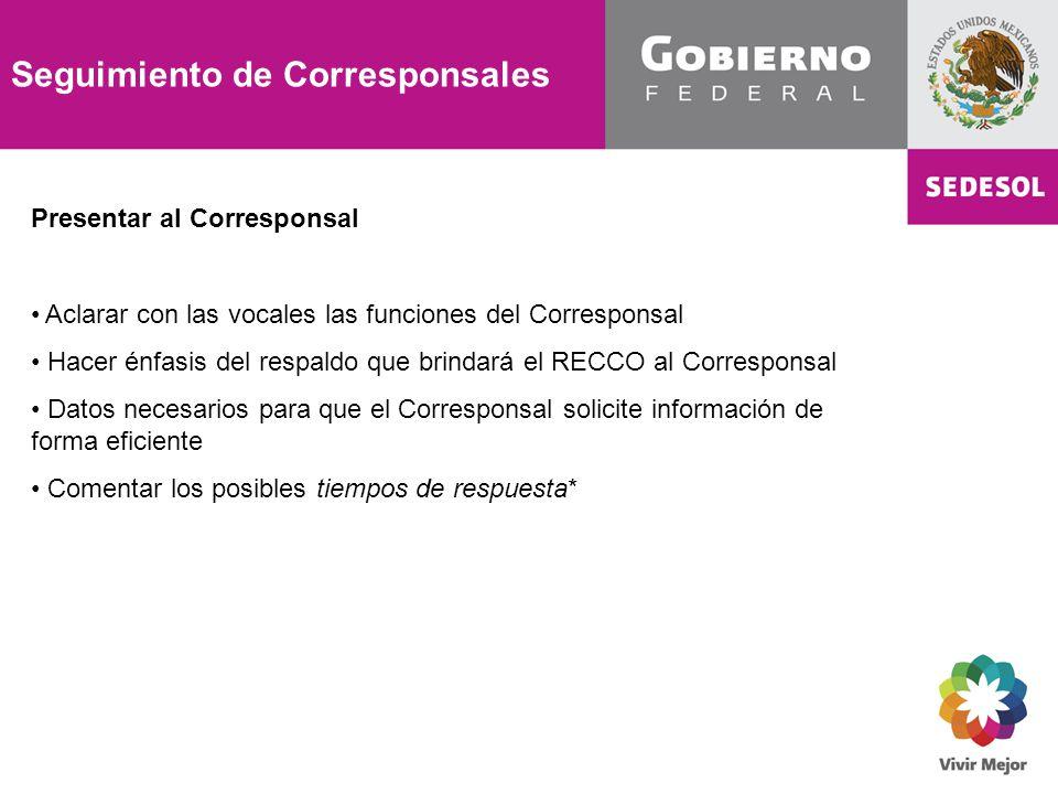 Seguimiento de Corresponsales Presentar al Corresponsal Aclarar con las vocales las funciones del Corresponsal Hacer énfasis del respaldo que brindará