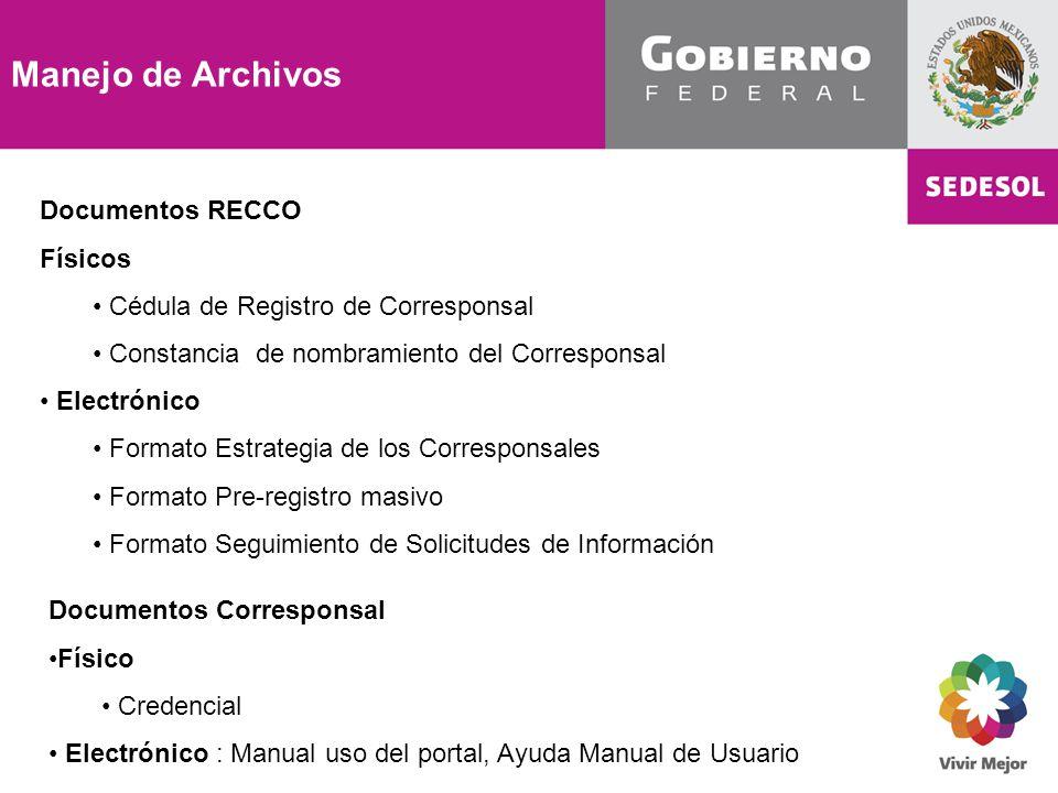 Manejo de Archivos Documentos RECCO Físicos Cédula de Registro de Corresponsal Constancia de nombramiento del Corresponsal Electrónico Formato Estrate