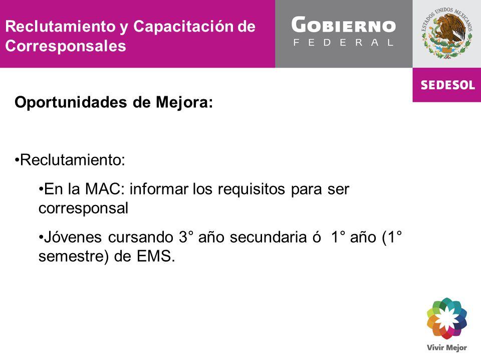 Reclutamiento y Capacitación de Corresponsales Oportunidades de Mejora: Reclutamiento: En la MAC: informar los requisitos para ser corresponsal Jóvenes cursando 3° año secundaria ó 1° año (1° semestre) de EMS.