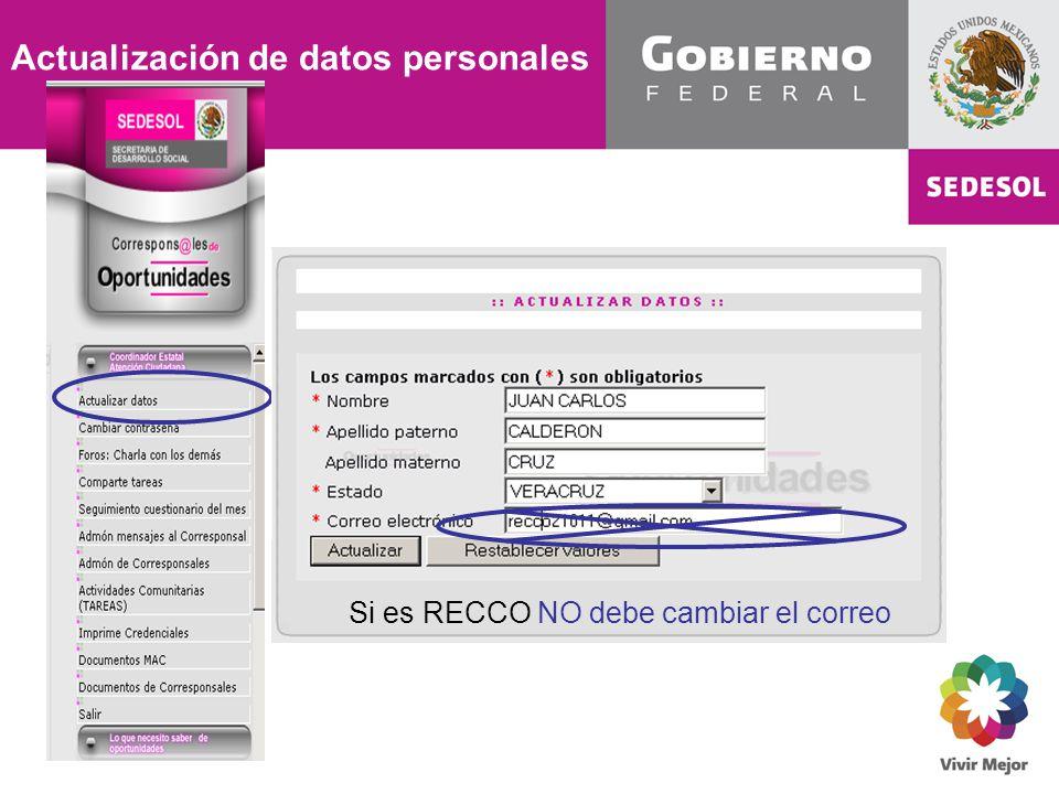 Si es RECCO NO debe cambiar el correo Actualización de datos personales