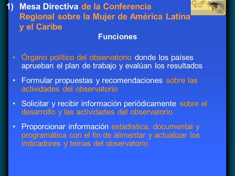 1)Mesa Directiva de la Conferencia Regional sobre la Mujer de América Latina y el Caribe Funciones Órgano político del observatorio donde los países a