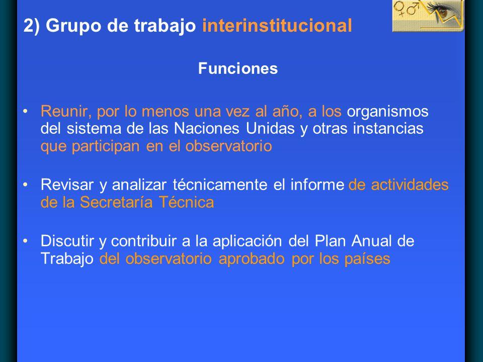 2) Grupo de trabajo interinstitucional Funciones Reunir, por lo menos una vez al año, a los organismos del sistema de las Naciones Unidas y otras inst