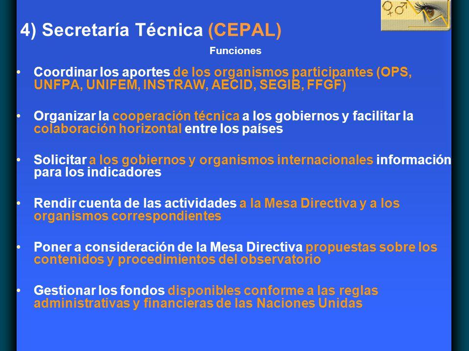 4) Secretaría Técnica (CEPAL) Funciones Coordinar los aportes de los organismos participantes (OPS, UNFPA, UNIFEM, INSTRAW, AECID, SEGIB, FFGF) Organi