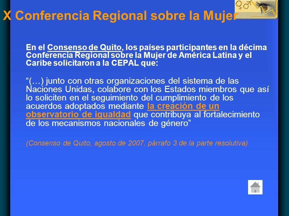 En el Consenso de Quito, los países participantes en la décima Conferencia Regional sobre la Mujer de América Latina y el Caribe solicitaron a la CEPA