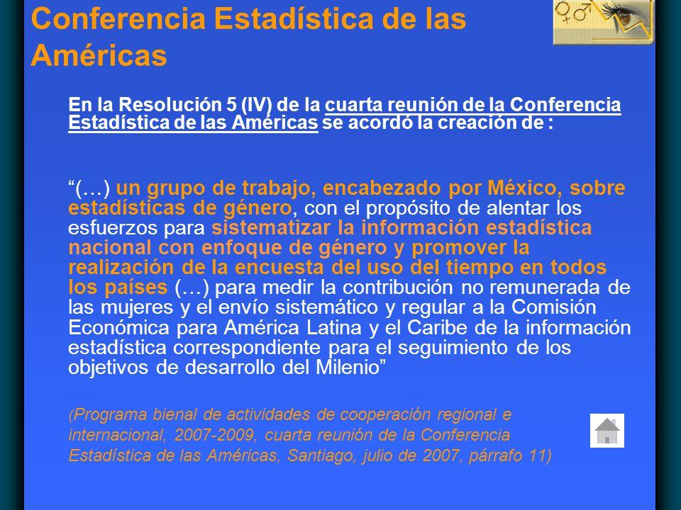 En la Resolución 5 (IV) de la cuarta reunión de la Conferencia Estadística de las Américas se acordó la creación de : (…) un grupo de trabajo, encabez