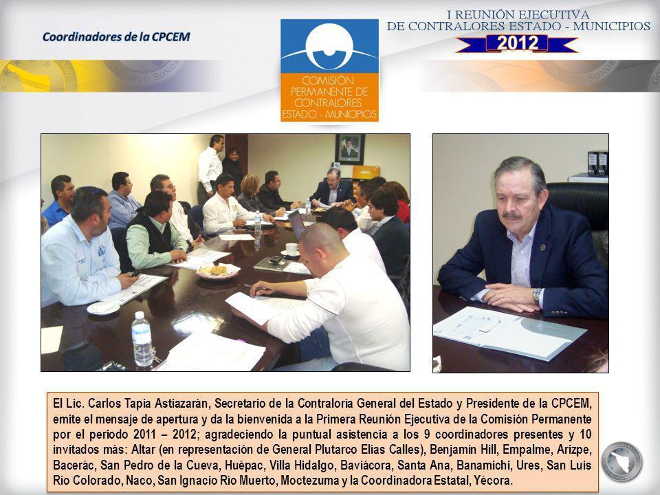 El Lic. Carlos Tapia Astiazarán, Secretario de la Contraloría General del Estado y Presidente de la CPCEM, emite el mensaje de apertura y da la bienve