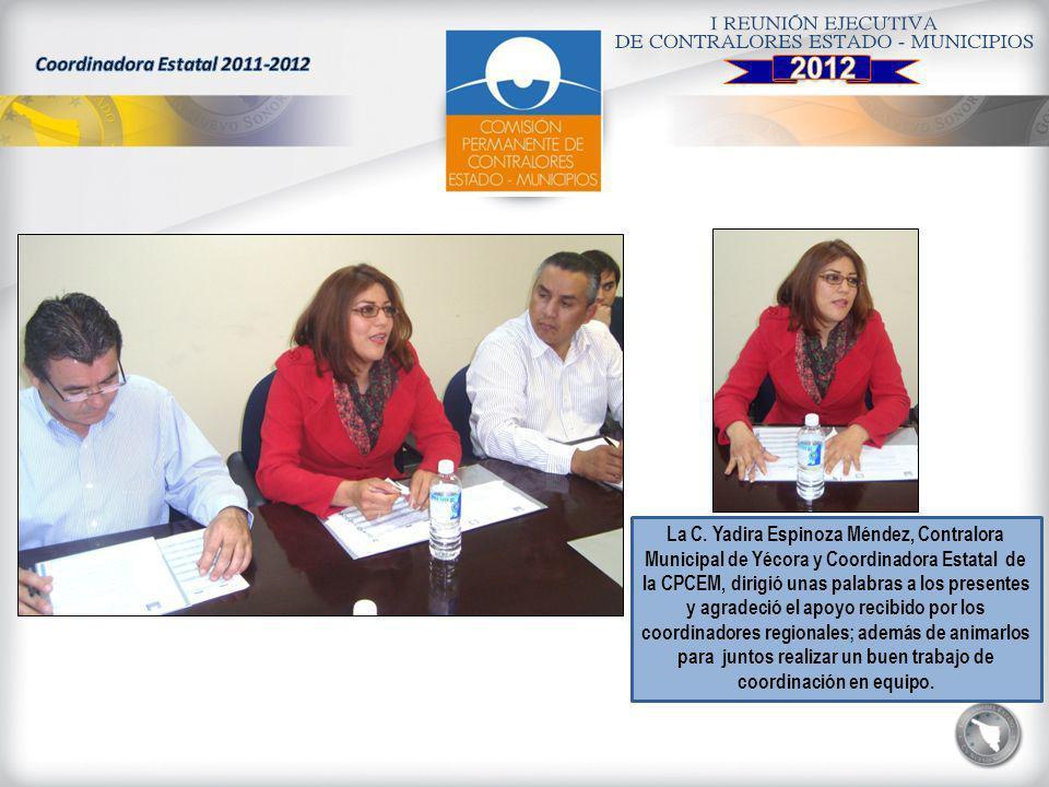 La C. Yadira Espinoza Méndez, Contralora Municipal de Yécora y Coordinadora Estatal de la CPCEM, dirigió unas palabras a los presentes y agradeció el