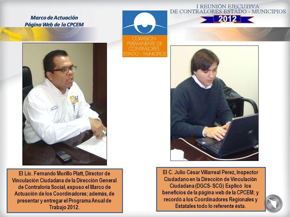 El Lic. Fernando Murillo Platt, Director de Vinculación Ciudadana de la Dirección General de Contraloría Social, expuso el Marco de Actuación de los C